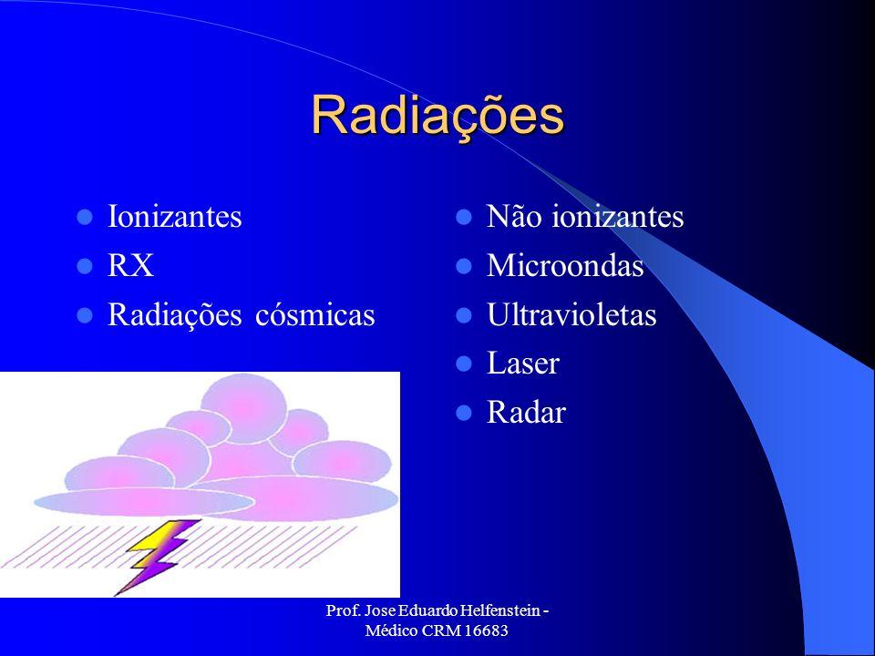 Prof. Jose Eduardo Helfenstein - Médico CRM 16683 Radiações Ionizantes RX Radiações cósmicas Não ionizantes Microondas Ultravioletas Laser Radar