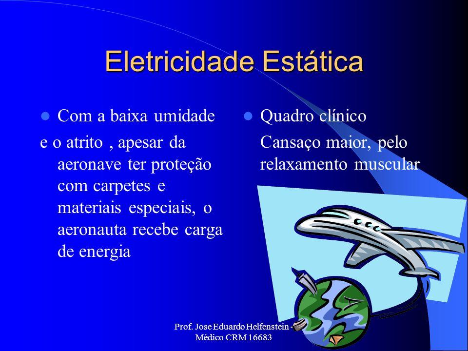 Prof. Jose Eduardo Helfenstein - Médico CRM 16683 Eletricidade Estática Com a baixa umidade e o atrito, apesar da aeronave ter proteção com carpetes e