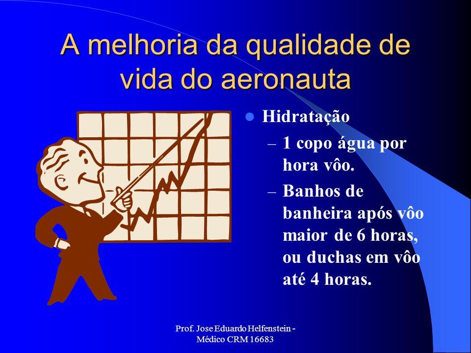 Prof. Jose Eduardo Helfenstein - Médico CRM 16683 A melhoria da qualidade de vida do aeronauta Hidratação – 1 copo água por hora vôo. – Banhos de banh