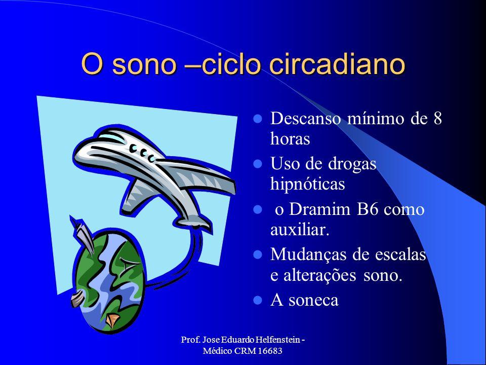 Prof. Jose Eduardo Helfenstein - Médico CRM 16683 O sono –ciclo circadiano Descanso mínimo de 8 horas Uso de drogas hipnóticas o Dramim B6 como auxili