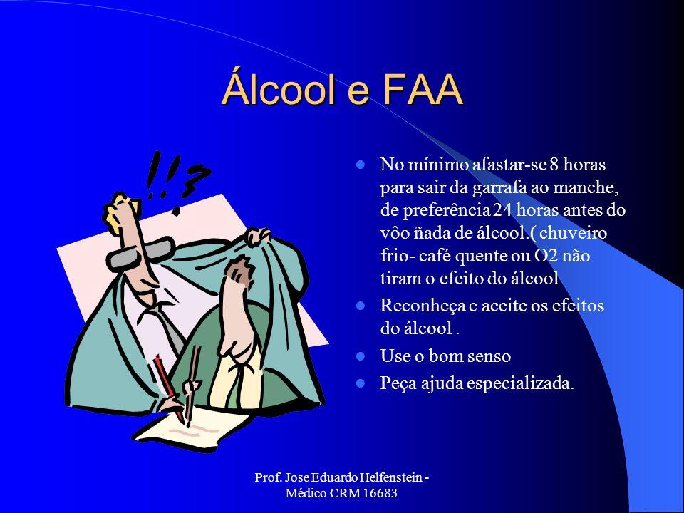 Prof. Jose Eduardo Helfenstein - Médico CRM 16683 Álcool e FAA No mínimo afastar-se 8 horas para sair da garrafa ao manche, de preferência 24 horas an