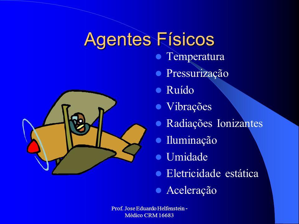 Prof. Jose Eduardo Helfenstein - Médico CRM 16683 Agentes Físicos Temperatura Pressurização Ruído Vibrações Radiações Ionizantes Iluminação Umidade El