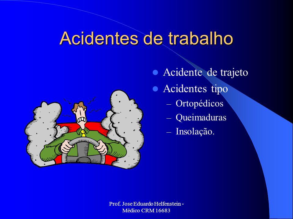 Prof. Jose Eduardo Helfenstein - Médico CRM 16683 Acidentes de trabalho Acidente de trajeto Acidentes tipo – Ortopédicos – Queimaduras – Insolação.