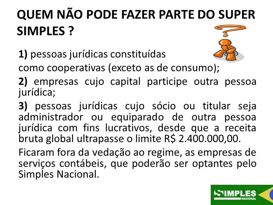 QUEM NÃO PODE FAZER PARTE DO SUPER SIMPLES ? 1) pessoas jurídicas constituídas como cooperativas (exceto as de consumo); 2) empresas cujo capital part