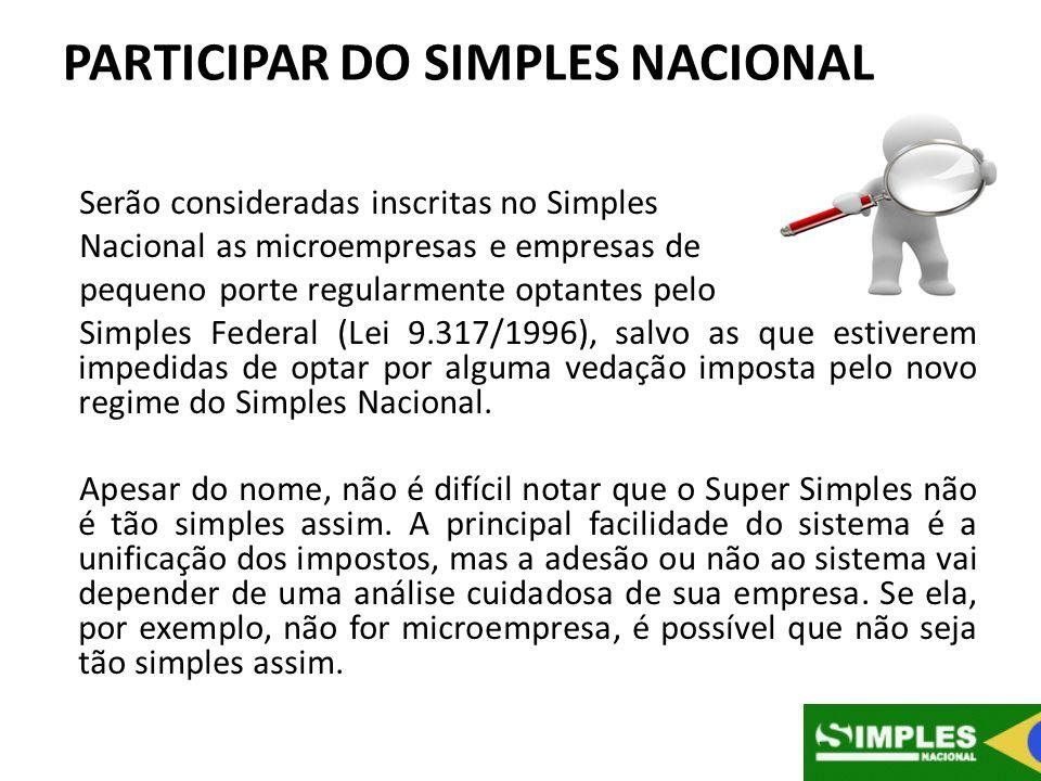 PARTICIPAR DO SIMPLES NACIONAL Serão consideradas inscritas no Simples Nacional as microempresas e empresas de pequeno porte regularmente optantes pel