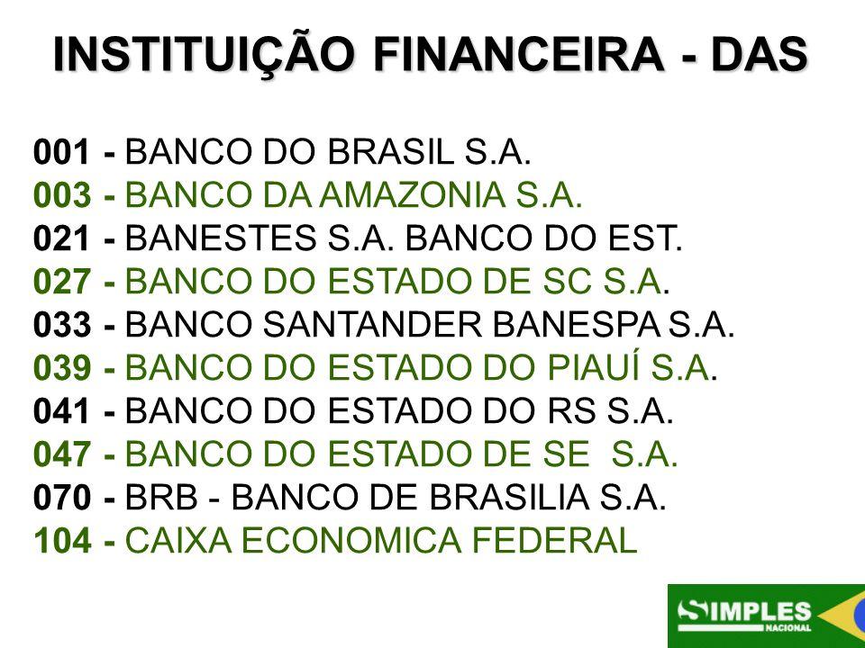 INSTITUIÇÃO FINANCEIRA - DAS 001 - BANCO DO BRASIL S.A. 003 - BANCO DA AMAZONIA S.A. 021 - BANESTES S.A. BANCO DO EST. 027 - BANCO DO ESTADO DE SC S.A