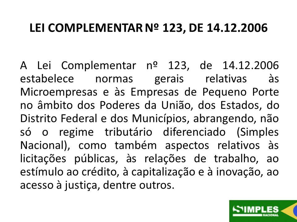 LEI COMPLEMENTAR Nº 123, DE 14.12.2006 A Lei Complementar nº 123, de 14.12.2006 estabelece normas gerais relativas às Microempresas e às Empresas de P