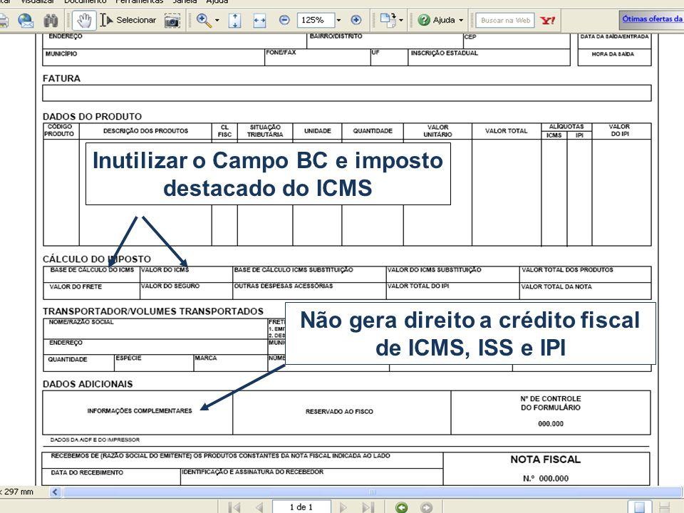 Não gera direito a crédito fiscal de ICMS, ISS e IPI Inutilizar o Campo BC e imposto destacado do ICMS