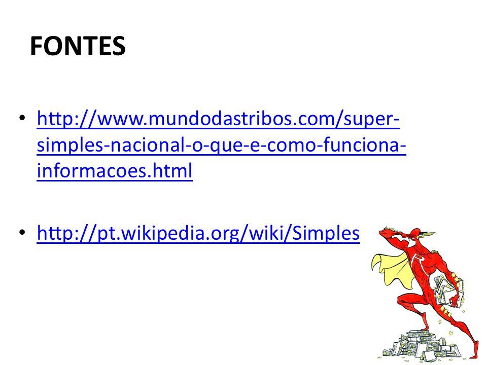 FONTES http://www.mundodastribos.com/super- simples-nacional-o-que-e-como-funciona- informacoes.html http://www.mundodastribos.com/super- simples-naci