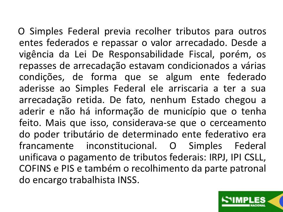 O Simples Federal previa recolher tributos para outros entes federados e repassar o valor arrecadado. Desde a vigência da Lei De Responsabilidade Fisc