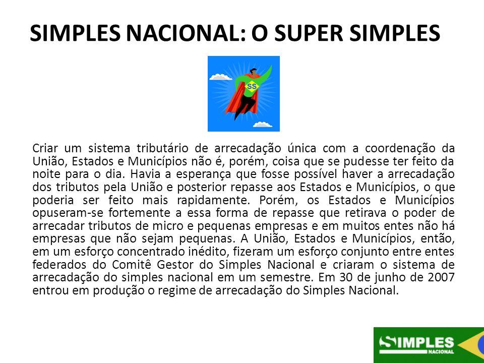 SIMPLES NACIONAL: O SUPER SIMPLES Criar um sistema tributário de arrecadação única com a coordenação da União, Estados e Municípios não é, porém, cois