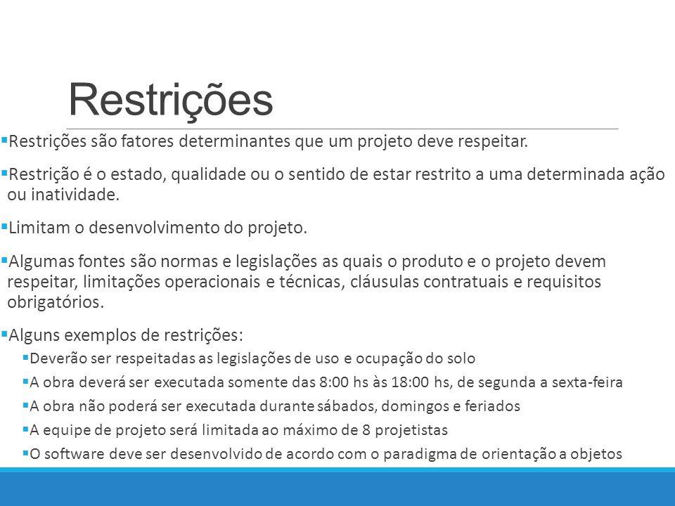 Restrições Restrições são fatores determinantes que um projeto deve respeitar.