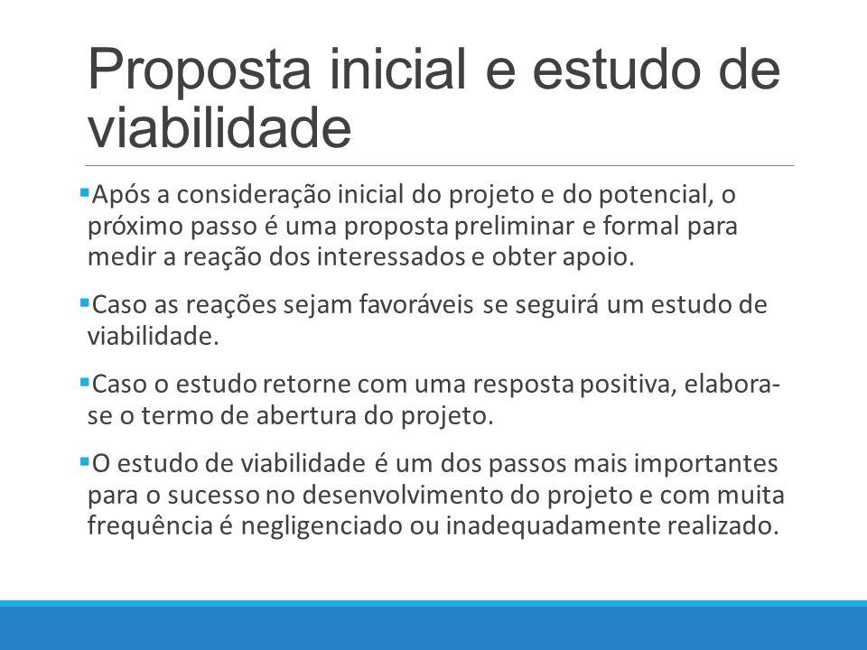 Proposta inicial e estudo de viabilidade Após a consideração inicial do projeto e do potencial, o próximo passo é uma proposta preliminar e formal para medir a reação dos interessados e obter apoio.