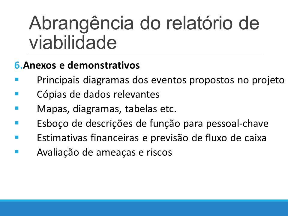 Abrangência do relatório de viabilidade 6.Anexos e demonstrativos Principais diagramas dos eventos propostos no projeto Cópias de dados relevantes Mapas, diagramas, tabelas etc.