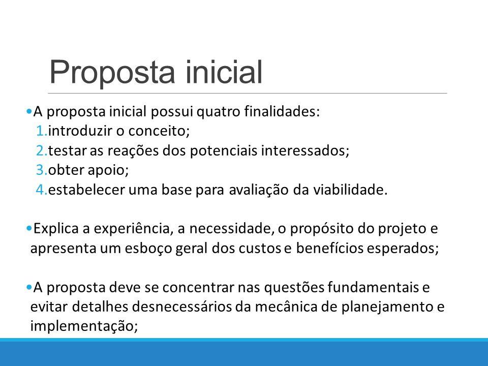 Proposta inicial A proposta inicial possui quatro finalidades: 1.introduzir o conceito; 2.testar as reações dos potenciais interessados; 3.obter apoio; 4.estabelecer uma base para avaliação da viabilidade.