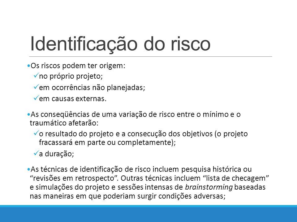Identificação do risco Os riscos podem ter origem: no próprio projeto; em ocorrências não planejadas; em causas externas.