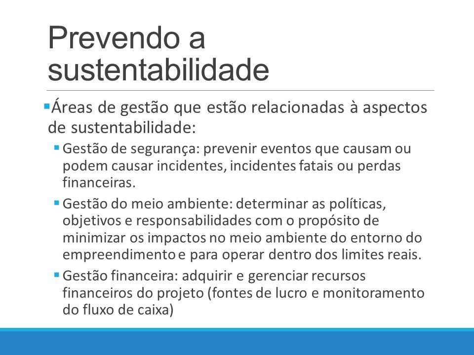 Prevendo a sustentabilidade Áreas de gestão que estão relacionadas à aspectos de sustentabilidade: Gestão de segurança: prevenir eventos que causam ou podem causar incidentes, incidentes fatais ou perdas financeiras.