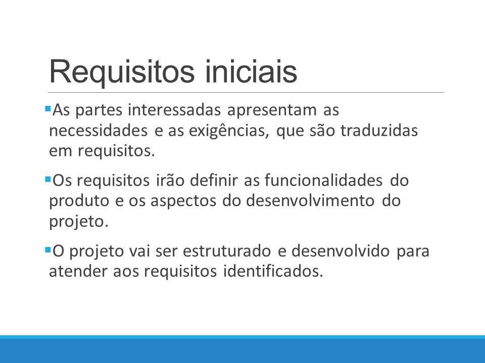 Requisitos iniciais As partes interessadas apresentam as necessidades e as exigências, que são traduzidas em requisitos.