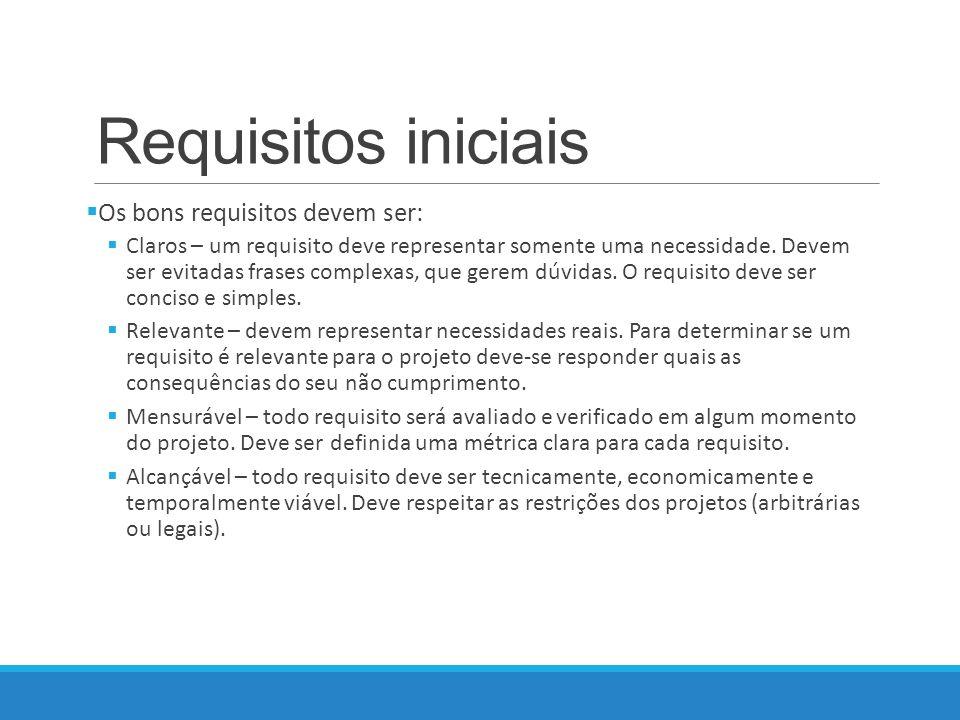 Requisitos iniciais Os bons requisitos devem ser: Claros – um requisito deve representar somente uma necessidade.