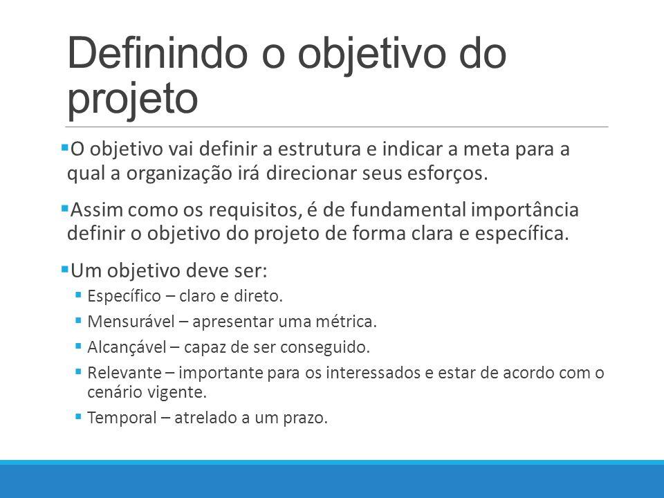 Definindo o objetivo do projeto O objetivo vai definir a estrutura e indicar a meta para a qual a organização irá direcionar seus esforços.