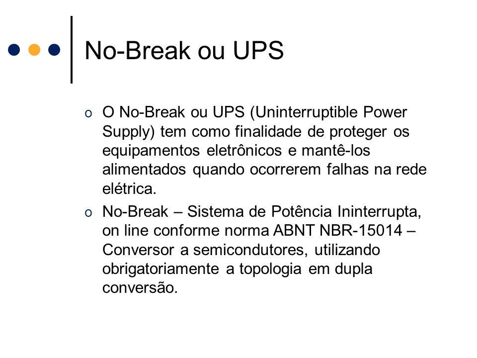No-Break ou UPS o O No-Break ou UPS (Uninterruptible Power Supply) tem como finalidade de proteger os equipamentos eletrônicos e mantê-los alimentados