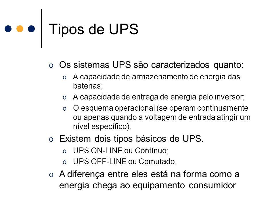 Tipos de UPS o Os sistemas UPS são caracterizados quanto: o A capacidade de armazenamento de energia das baterias; o A capacidade de entrega de energi