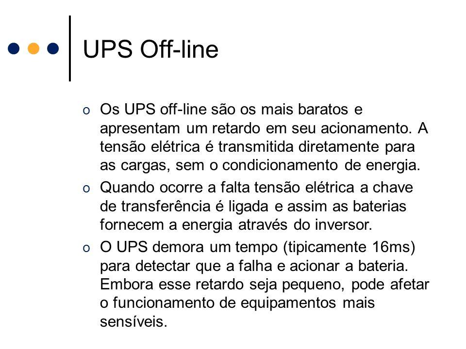 UPS Off-line o Os UPS off-line são os mais baratos e apresentam um retardo em seu acionamento. A tensão elétrica é transmitida diretamente para as car