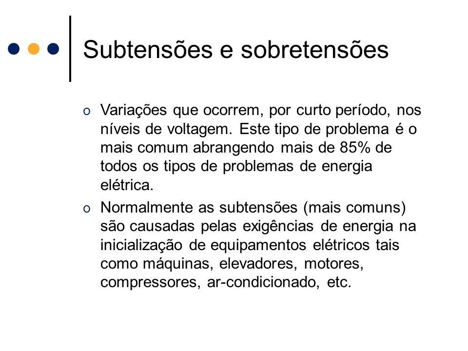 Subtensões e sobretensões o Variações que ocorrem, por curto período, nos níveis de voltagem. Este tipo de problema é o mais comum abrangendo mais de