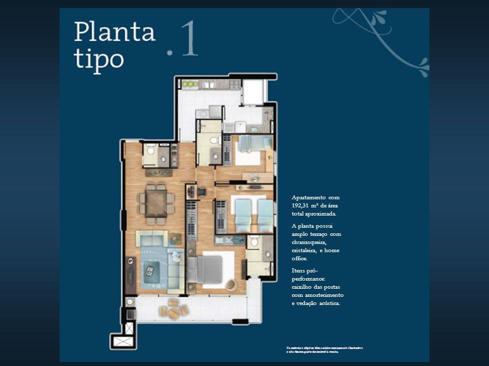 Apartamento com 192,31 m² de área total aproximada.