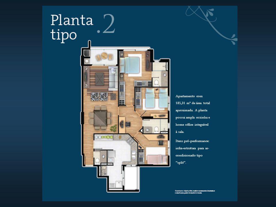 Apartamento com 185,31 m² de área total aproximada.