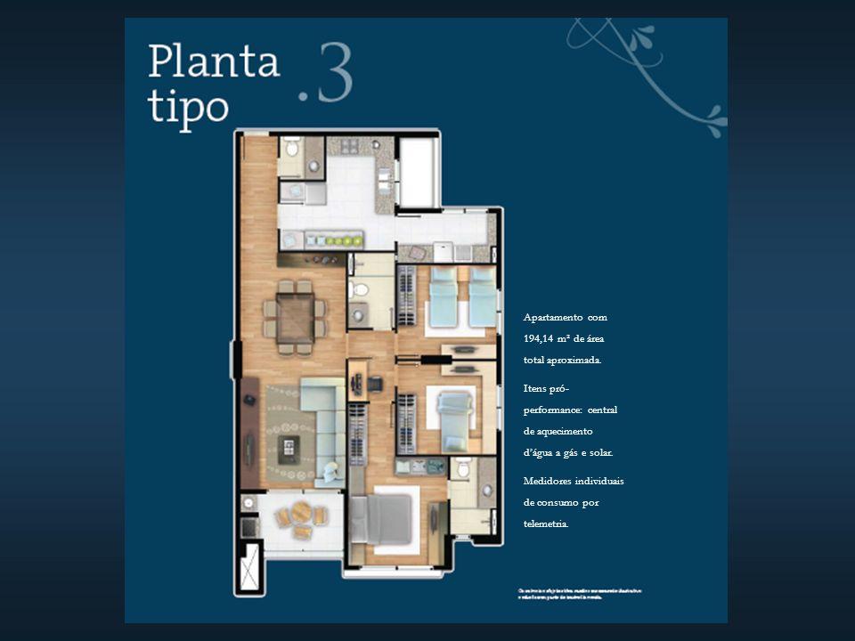 Apartamento com 194,14 m² de área total aproximada.