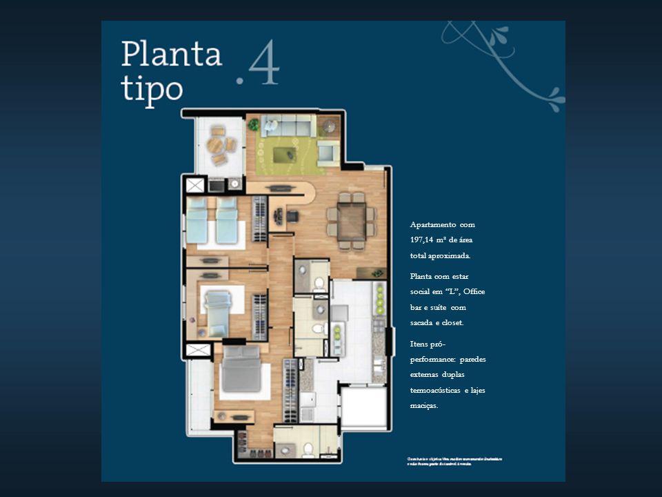 Apartamento com 197,14 m² de área total aproximada.