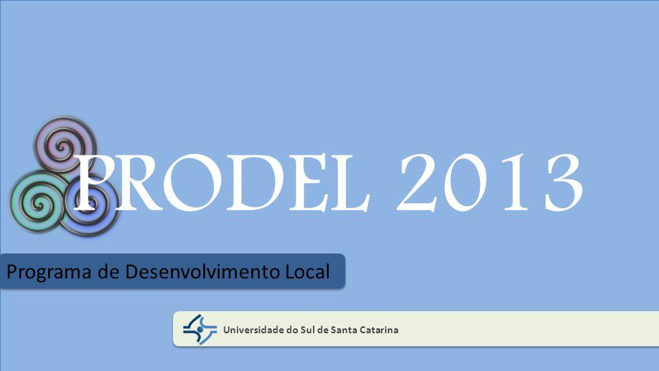 Resultados PRODEL 2012 No primeiro ano do Programa Prodel elaborou-se um Diagnóstico da realidade local para identificar necessidades, interesses e competências da comunidade regional do entorno da universidade e, ainda, atividades de extensão tendo como temas Empreendedorismo, Educação Ambiental-3Rs e Acessibilidade.