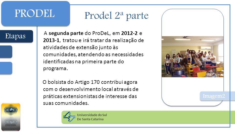 Prodel 2ª parte Imagem2 A segunda parte do ProDeL, em 2012-2 e 2013-1, tratou e irá tratar da realização de atividades de extensão junto às comunidade