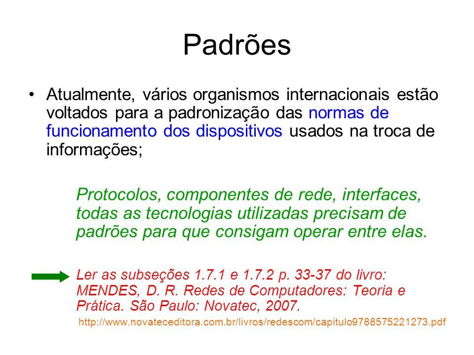 Padrões Atualmente, vários organismos internacionais estão voltados para a padronização das normas de funcionamento dos dispositivos usados na troca d