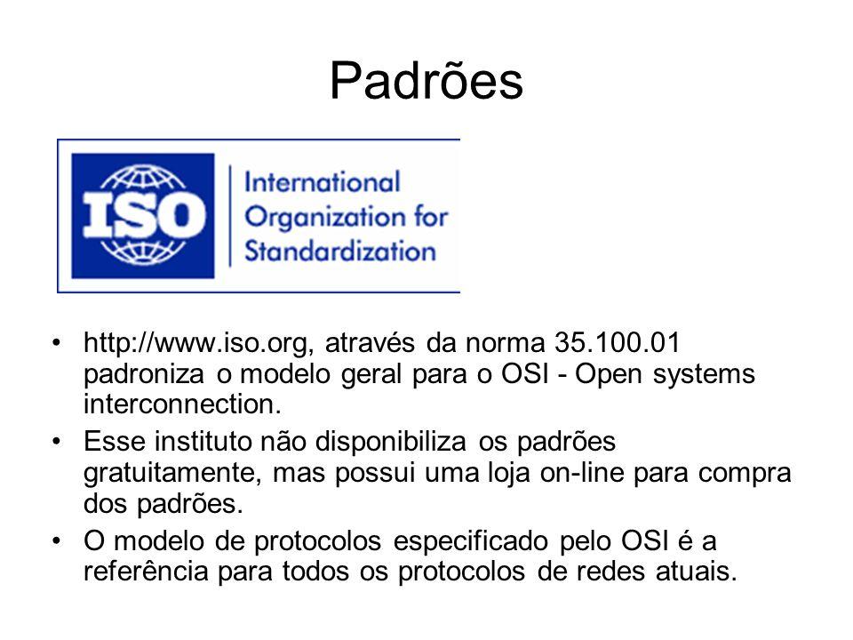 Padrões http://www.iso.org, através da norma 35.100.01 padroniza o modelo geral para o OSI - Open systems interconnection. Esse instituto não disponib