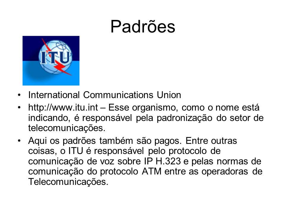 Padrões International Communications Union http://www.itu.int – Esse organismo, como o nome está indicando, é responsável pela padronização do setor d