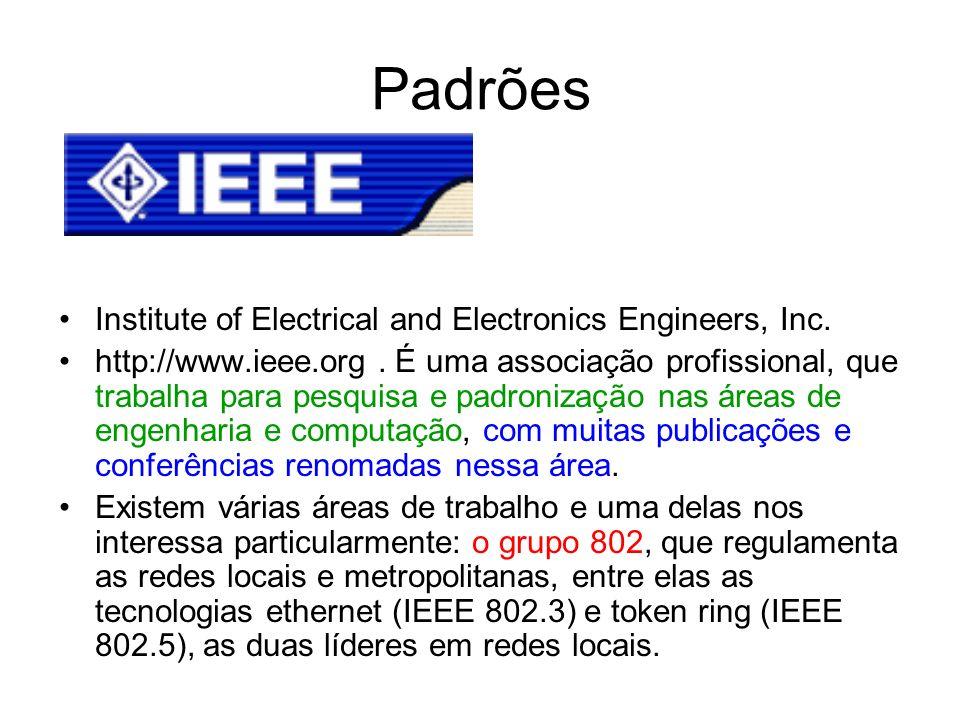 Padrões Institute of Electrical and Electronics Engineers, Inc. http://www.ieee.org. É uma associação profissional, que trabalha para pesquisa e padro