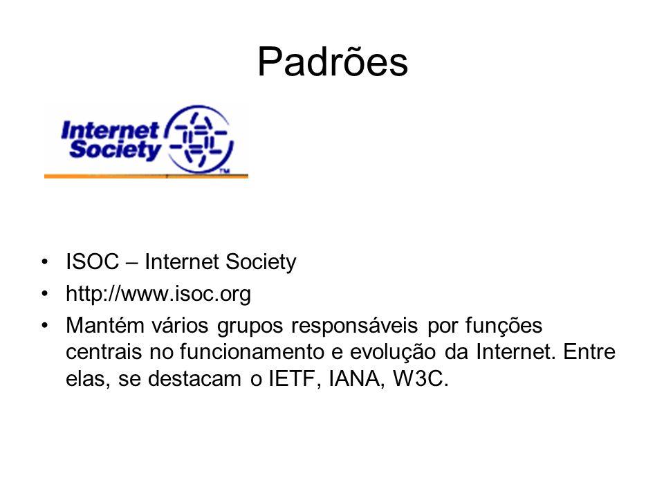 Padrões ISOC – Internet Society http://www.isoc.org Mantém vários grupos responsáveis por funções centrais no funcionamento e evolução da Internet. En