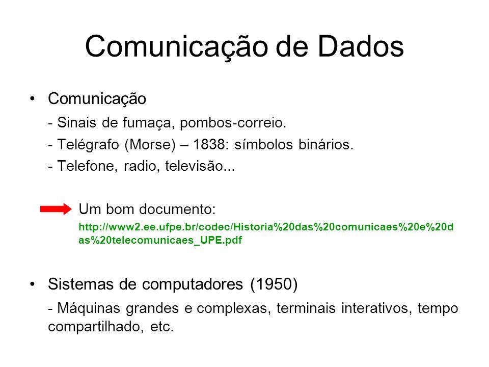 Comunicação de Dados Comunicação - Sinais de fumaça, pombos-correio. - Telégrafo (Morse) – 1838: símbolos binários. - Telefone, radio, televisão... Um