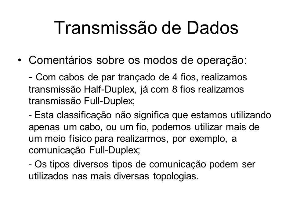 Transmissão de Dados Comentários sobre os modos de operação: - Com cabos de par trançado de 4 fios, realizamos transmissão Half-Duplex, já com 8 fios
