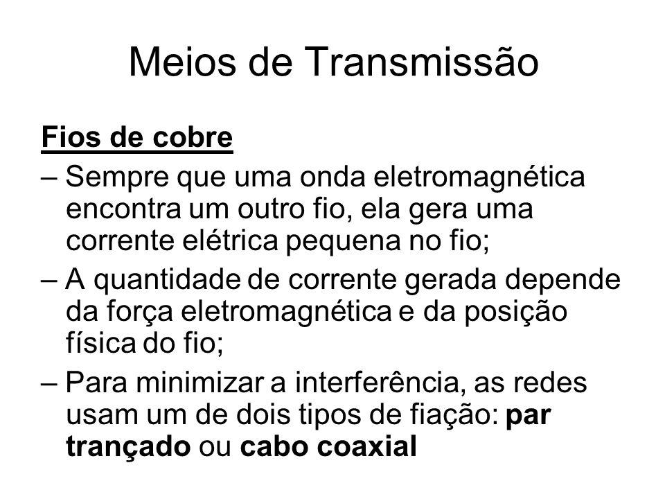 Meios de Transmissão Fios de cobre – Sempre que uma onda eletromagnética encontra um outro fio, ela gera uma corrente elétrica pequena no fio; – A qua