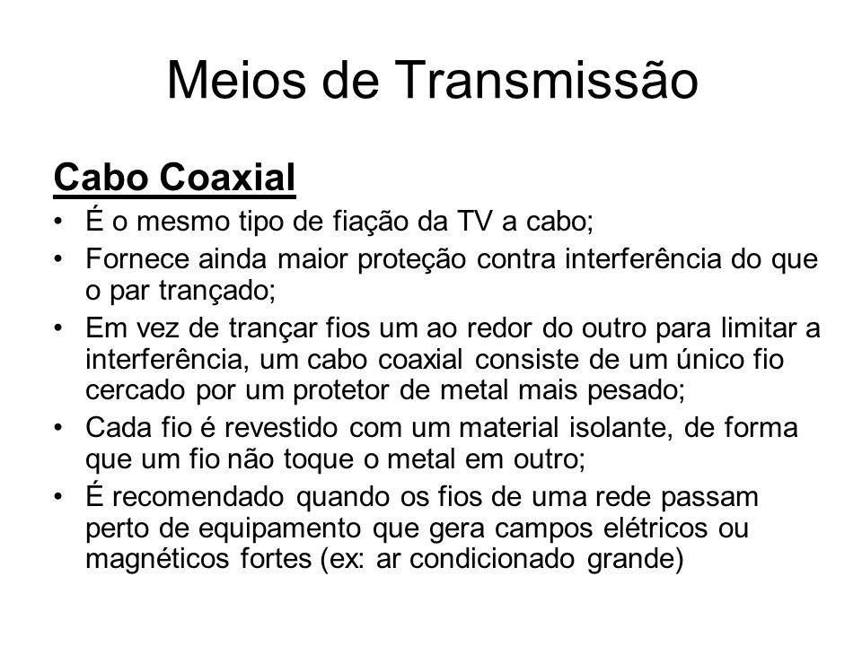 Meios de Transmissão Cabo Coaxial É o mesmo tipo de fiação da TV a cabo; Fornece ainda maior proteção contra interferência do que o par trançado; Em v