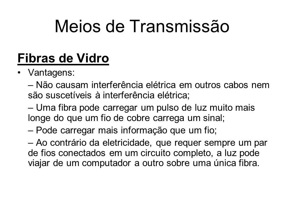 Meios de Transmissão Fibras de Vidro Vantagens: – Não causam interferência elétrica em outros cabos nem são suscetíveis à interferência elétrica; – Um