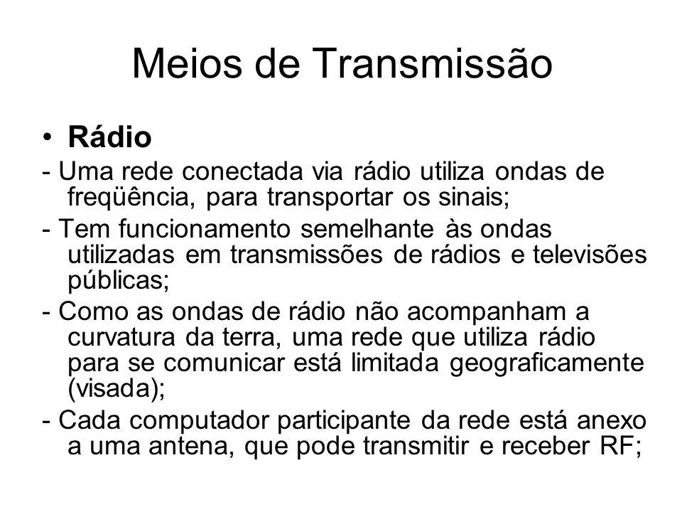 Meios de Transmissão Rádio - Uma rede conectada via rádio utiliza ondas de freqüência, para transportar os sinais; - Tem funcionamento semelhante às o