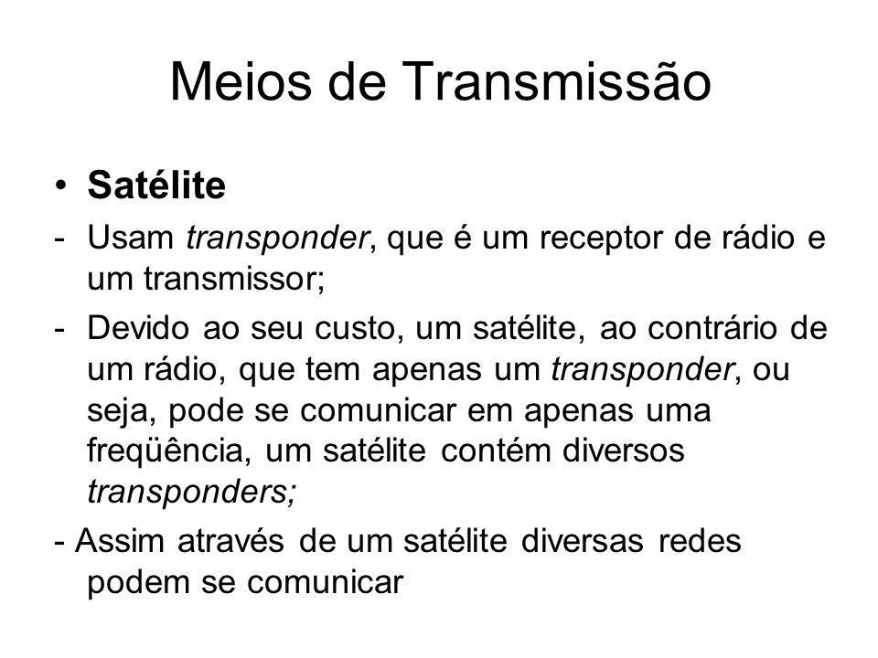 Meios de Transmissão Satélite -Usam transponder, que é um receptor de rádio e um transmissor; -Devido ao seu custo, um satélite, ao contrário de um rá