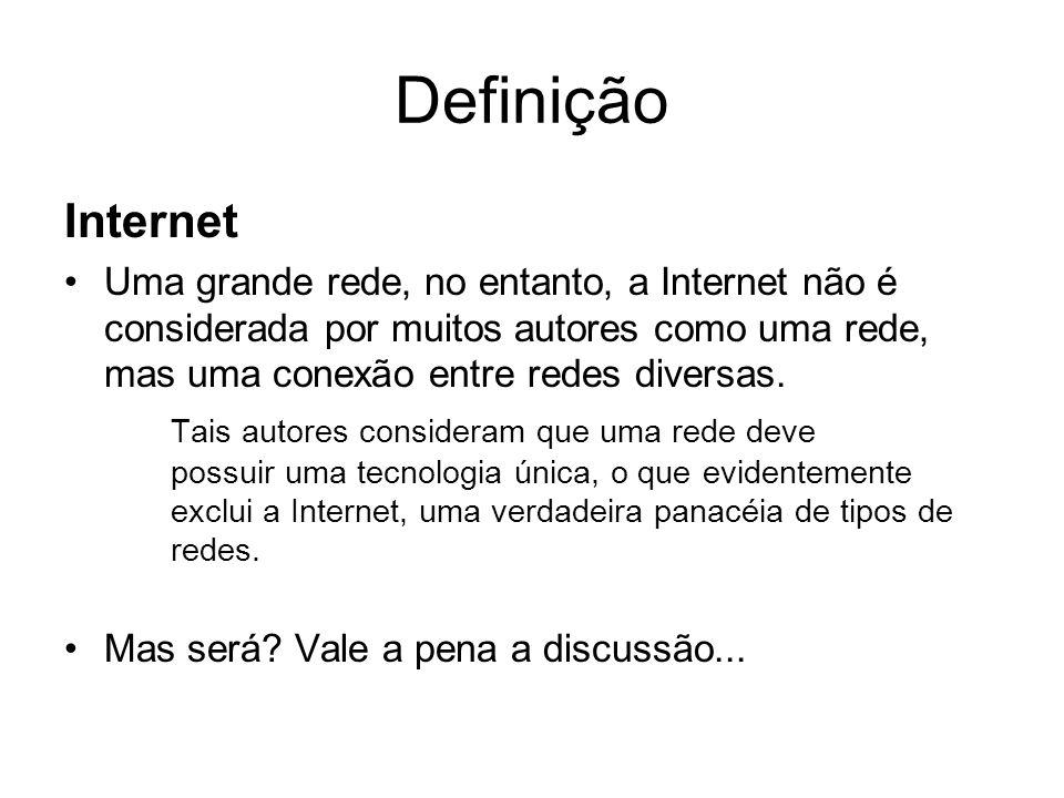 Definição Internet Uma grande rede, no entanto, a Internet não é considerada por muitos autores como uma rede, mas uma conexão entre redes diversas. T