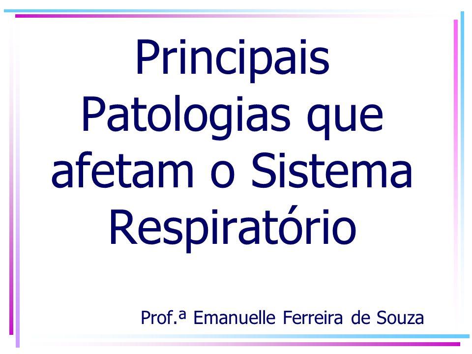 Principais Patologias que afetam o Sistema Respiratório Prof.ª Emanuelle Ferreira de Souza