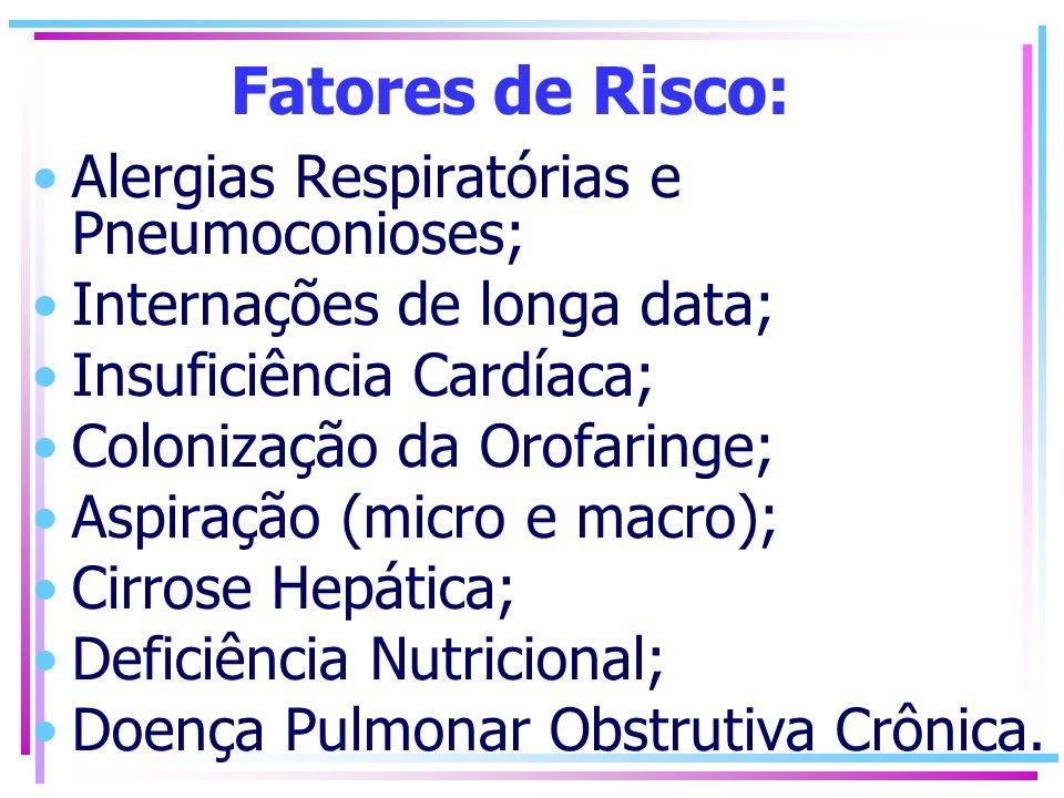 Fatores de Risco: Alergias Respiratórias e Pneumoconioses; Internações de longa data; Insuficiência Cardíaca; Colonização da Orofaringe; Aspiração (mi