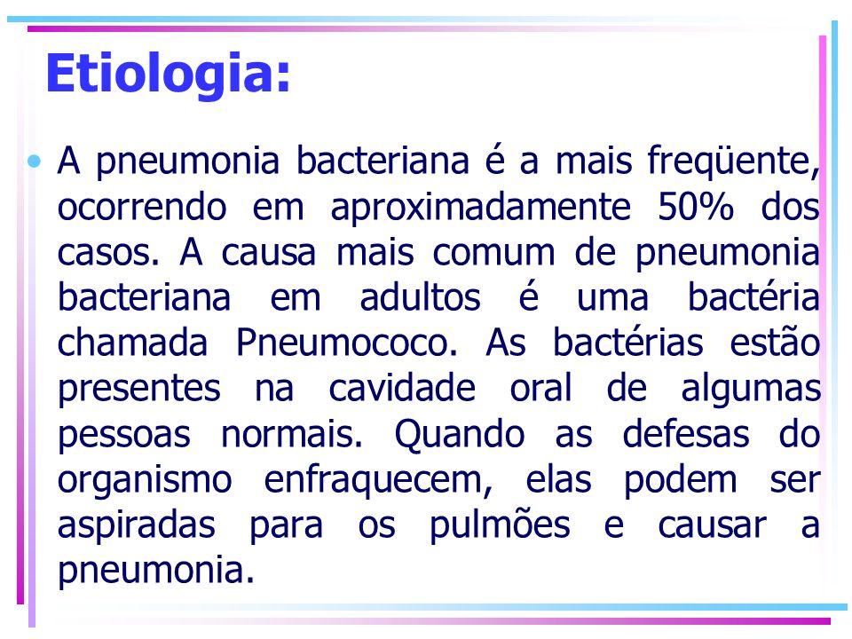 Etiologia: A pneumonia bacteriana é a mais freqüente, ocorrendo em aproximadamente 50% dos casos. A causa mais comum de pneumonia bacteriana em adulto